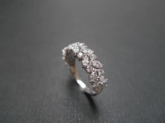 Marquise Wedding Band Half Eternity Ring