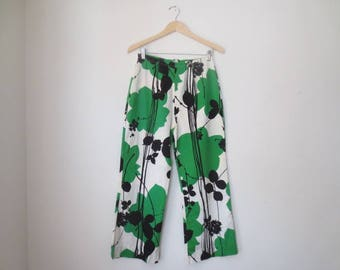 Vintage '60s High Waisted, Wide Leg Cotton, Bold Novelty Print Pants, 29 x 26