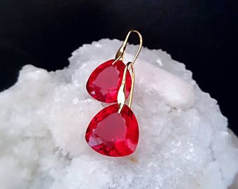 New! Red Topaz Heart Shaped Drop Earrings Simple Drop Solitaires on Gold Vermeil Ear Wires Minimal Drop Earrings Gift For Her