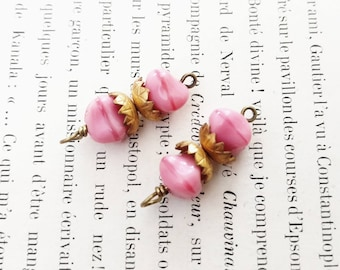 Vintage Pink Beaded Glass Links Relic Charm