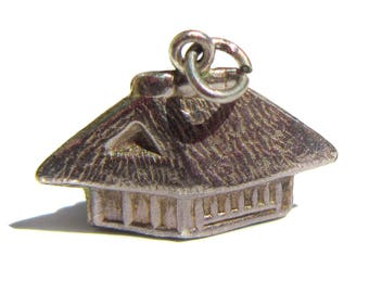Small Oriental Straw House Charm Silver Tone Metal Asian Home Charm Hut Charm