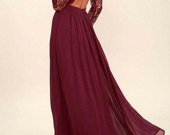 Long Wine Chiffon Skirt, Maxi Skirt