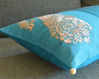 Turquoise Patchwork Silk Pillow Cover with Embroidery , Color Blocked  Silk Cushion Cover in Turquoise and Cream, Embroidered Silk Pillow