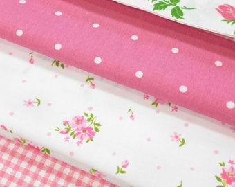 Pink roses dots gingham ticking / Vintage fabric 4 pack
