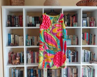 VINTAGE 1960's Multicolor Hawaiian Print Cotton Shift Dress by Florida Handprints Miami - available