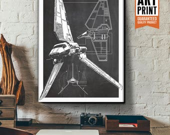 Star Wars Canvas - Imperial Shuttle - Canvas Art Print, Star Wars Art, Star Wars Patent Art, Fan Art, Star Wars Gift, Patent Art, Industrial
