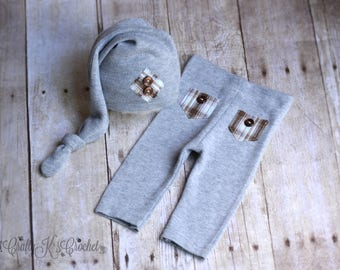 Upcycled Newborn Hat and Pants Set Baby Boy Sleep Cap Upcycle Photo Prop Outfit Newborn Diaper Cover Set - Gray & Brown -  READY TO SHIP