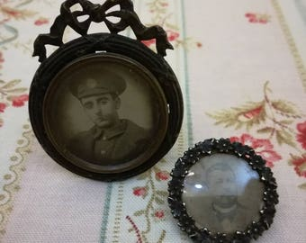 Antique French photo brooch man & antique photo frame soldier - used as Christmas tree decoration?