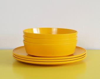 Vintage Plastic Bowls and Plates, Set of Three Encore by Gaydon Yellow Melamine Bowls and Plates, Set of Camping or Picnic Plates and Bowls