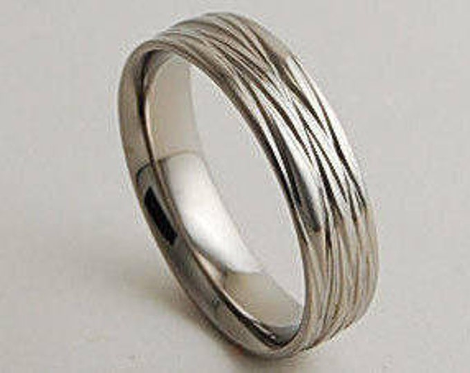 Mens Wedding Band , Titanium Ring , The Sphinx Band with Comfort Fit Interior