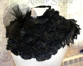 Black lace neck ruffle collar choker necklace with various lace and decorate style ribbon back velcro