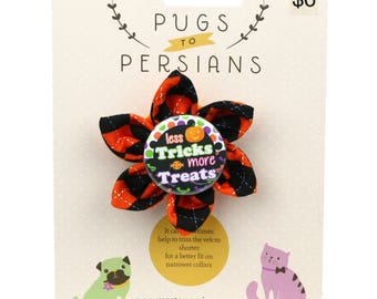 Halloween Dog Bow - More Treats! on Halloween Argyle - Flower - Collar Blossom - Small Size