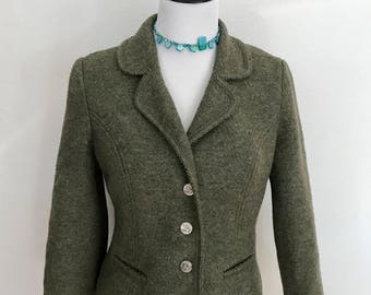 Vintage Womens German/Austrian Boiled Wool Trachten Jacket/Blazer // Army Loden Green // Coin Buttons // Pockets // Size Small // Fitted