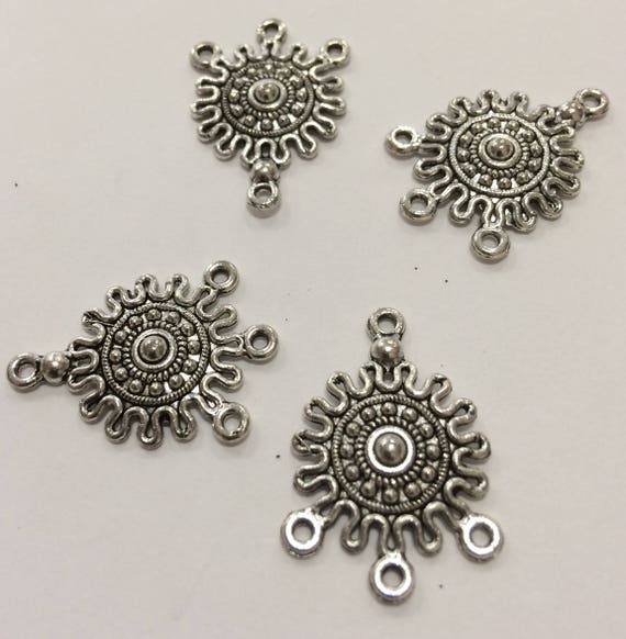 3 Strand Antique Silver Round Dots Filigree Flower Spacer End Connector 10 pieces