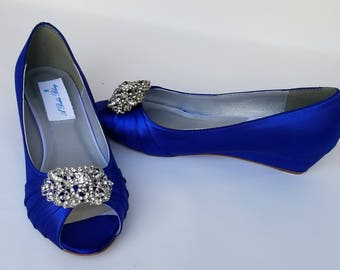 Blue Wedding Shoes with Ornate Crystal Design Blue Bridal Shoes Blue Wedges Blue Bridesmaid Shoes  PICK YOUR COLOR  100 Choices