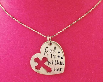 Psalm 46:5 God is Within Her hand stamped heart necklace with cross