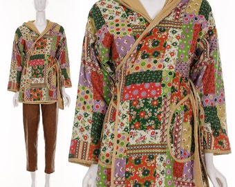 vtg 60s tan CALICO PRINT hooded Wrap COAT Med/Large patchwork belted jacket hippie bohemian retro green purple red floral boho