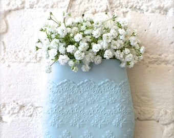 New Color-Pale Blue Porcelain Flower Lace Hanging Wall Pocket, Wall Hanging Vase, Wall Decor, Living With Flowers Everyday