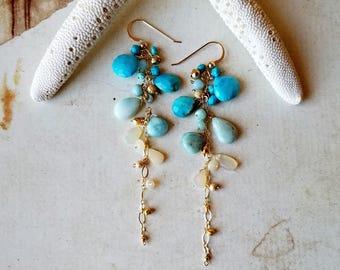 Long Larimar Dangle Earrings, Ethiopian Opal Dangle Earrings, Long Opal Earrings, Sleeping Beauty Turquoise Cluster:  Ready to Ship