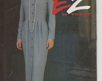 Easy Dress Pattern Front Button and Tucks at Waist Misses Size 14 - 16 - 18 uncut Vogue 8802 Ultra EZ