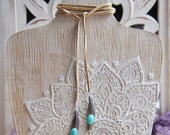 Feather Wrap Necklace, Wrap Necklace, Feather Necklace, Wrap bracelet, Amazonite Necklace, Bolo Necklace, Festival Necklace, Bohemian, Boho