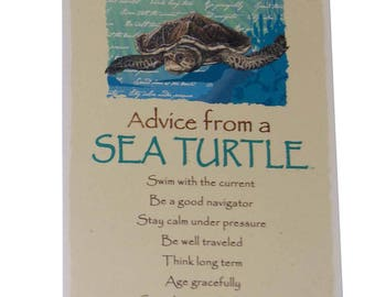 "Advice from a Sea Turtle Novelty Inspirational 5.5""x8.5"" Wood Plaque Sign"