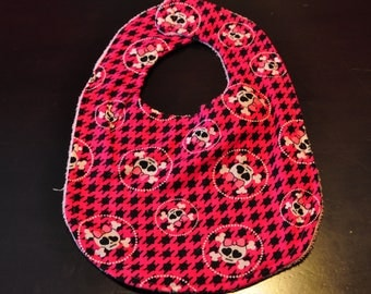 Pink Skull Terry Cloth Baby Bib