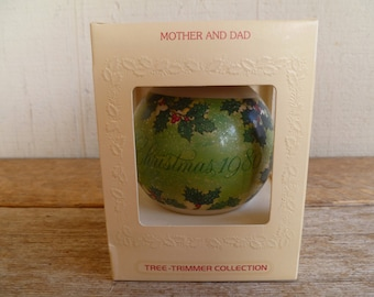"1980 Hallmark Glass Christmas Ornament ""Mother and Dad""  in Box"