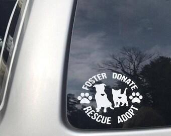 Rescue Decal, foster, donate, animal rescue, pet, dog, cat, adopt, rescue, pet adoption, vinyl decal