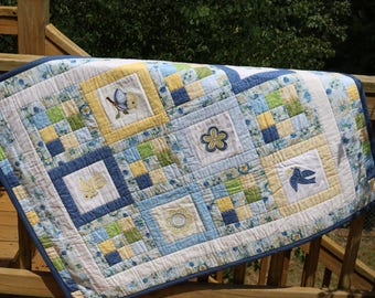 Baby Quilt Adorable Birds and Flowers blanket crib toddler Cotton Blue Yellow applique