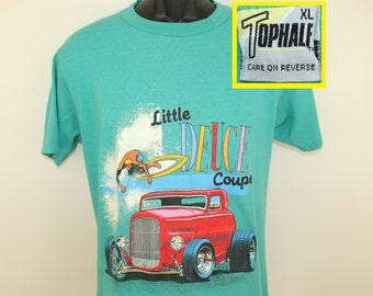 Little Deuce Coupe vintage t-shirt M turquoise green 80s 1988 Beach Boys Top Half surfing hot rod