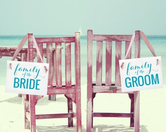 Wedding Chair Signs Family of the Groom | Family of the Bride Set of 2 Hanging Banners | Handmade USA | 1238 BW