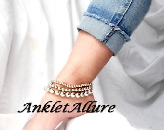 VINTAGE Gold Ankle Bracelet Glam Gypsy Anklet Triple Anklets for Women
