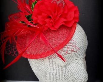 Red Christmas Fascinator, With Holly Berry Accents Whimsy, Church Hat