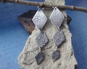 Textured Fine Silver Long Dangle Earrings