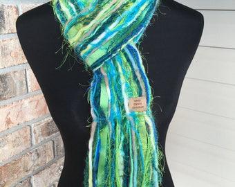 Blue Green Scarf Fall Fashion Warm Winter Skinny Scrappy - Under the Sea - Handmade