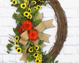 Sunflower Wreath, Sunflower Decor,  Summer thru Fall Wreath, Oval Wreath, Door Decor, Oval Grapevine