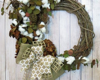 Cotton Wreath, Rustic Wreath, All Seasons Wreath, Cotton Boll Wreath, Farmhouse Decor, Rustic Decor