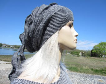 Ladies Fashion Hats Charcoal Gray Slouch Beanies Chainmaille Knit Rose Tie Back Tam A1825
