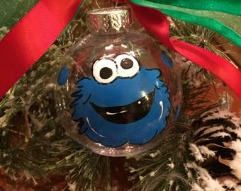 COOKIE MONSTER ELMO Big Bird Hand Painted Ornament
