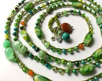 Green beaded crochet wrap bracelet / necklace, summer jewelry, bohemian jewelry, crochet jewelry, summer fashion gift for her, coffycrochet