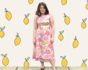 FREE SHIPPING!: Vintage 1960's Pink Bold Floral Midi Dress