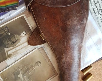 WW1  The Great War LEATHER HOLSTER  L B Crout Ltd dated 1915 Webley pistol Revolver holster
