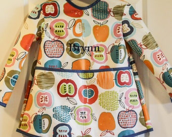READY TO SHIP 4/5 Extra Long Childrens Long Sleeved Art Smock Waterproof Apron with Big Apples