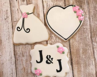 Bridal Shower Favors, Wedding Cookie Favors, Rehearsal Dinner Favors - 1 dozen