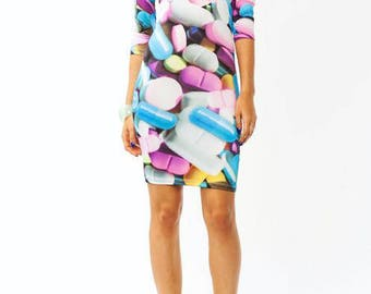 Pharmacy Pill Medicine Graphic 3/4 Sleeve Dress With Vibrant Colors From Pink To Baby Blue - Sizes Small To Large
