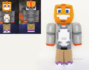 "Plush Minecraft inspired skin 23.6"" Your own Minecraft doll Personalized geek plushie - MADE TO ORDER"