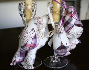 Purple Plaid Stuffed Fabric Bird Ornaments
