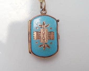 Antique Victorian Blue Enamel Gold GF Locket New 14K GF Chain Necklace