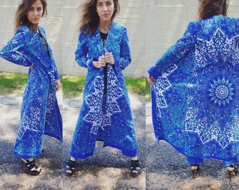 kaleidoscope cotton kimono duster periwinkle shades of blue bohemian boho chic duster jacket hippie wedding beachy beautiful fabric chic